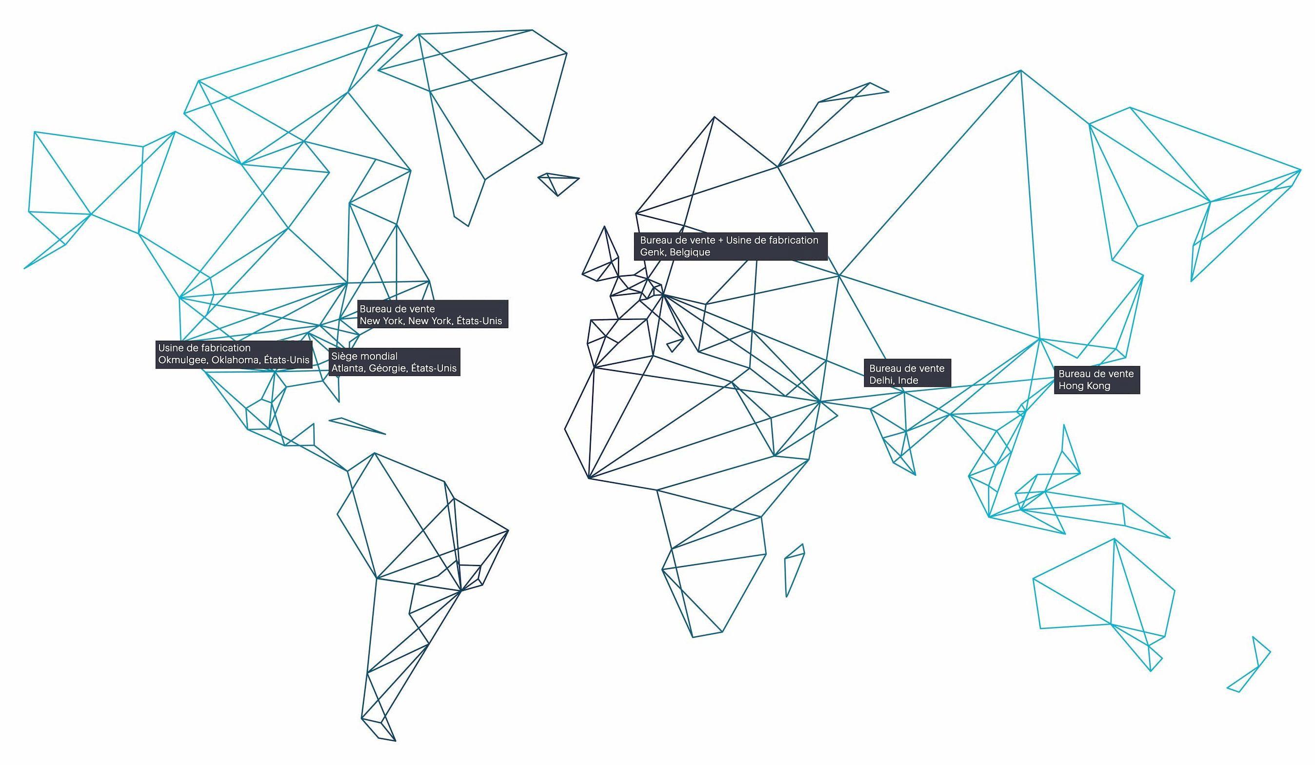 Carte interactive avec formes géographiques bleues montrant les emplacements de PolyVision