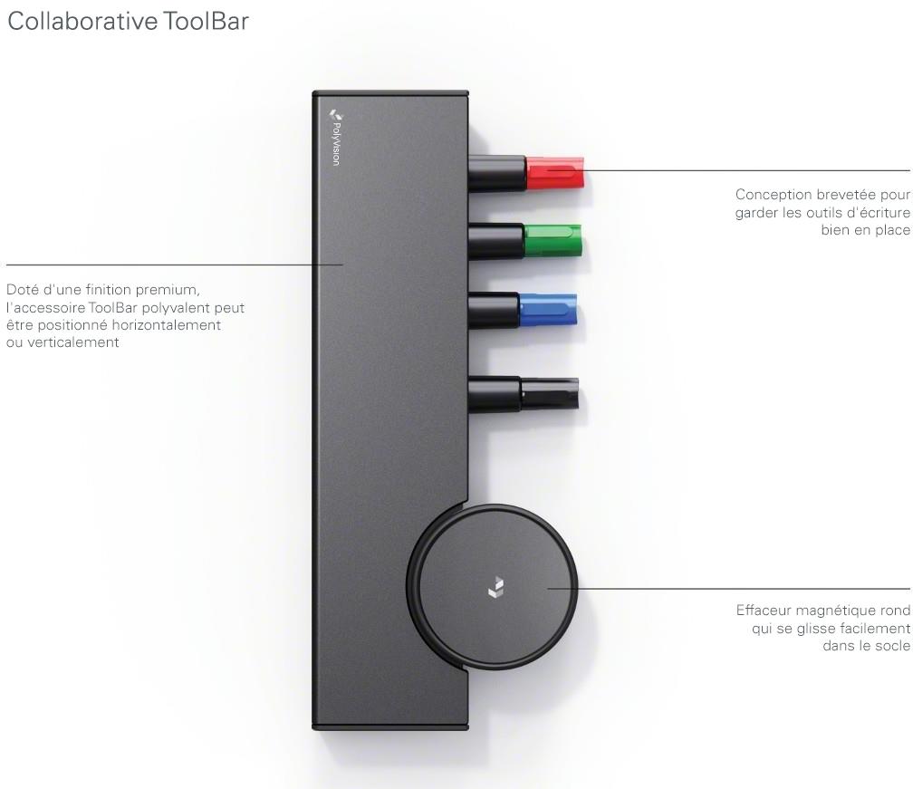 Diagramme de laCollaborative ToolBar de PolyVision qui détaille les finitions, le rangement pour marqueurs et le socle magnétique rond pour l'effaceur